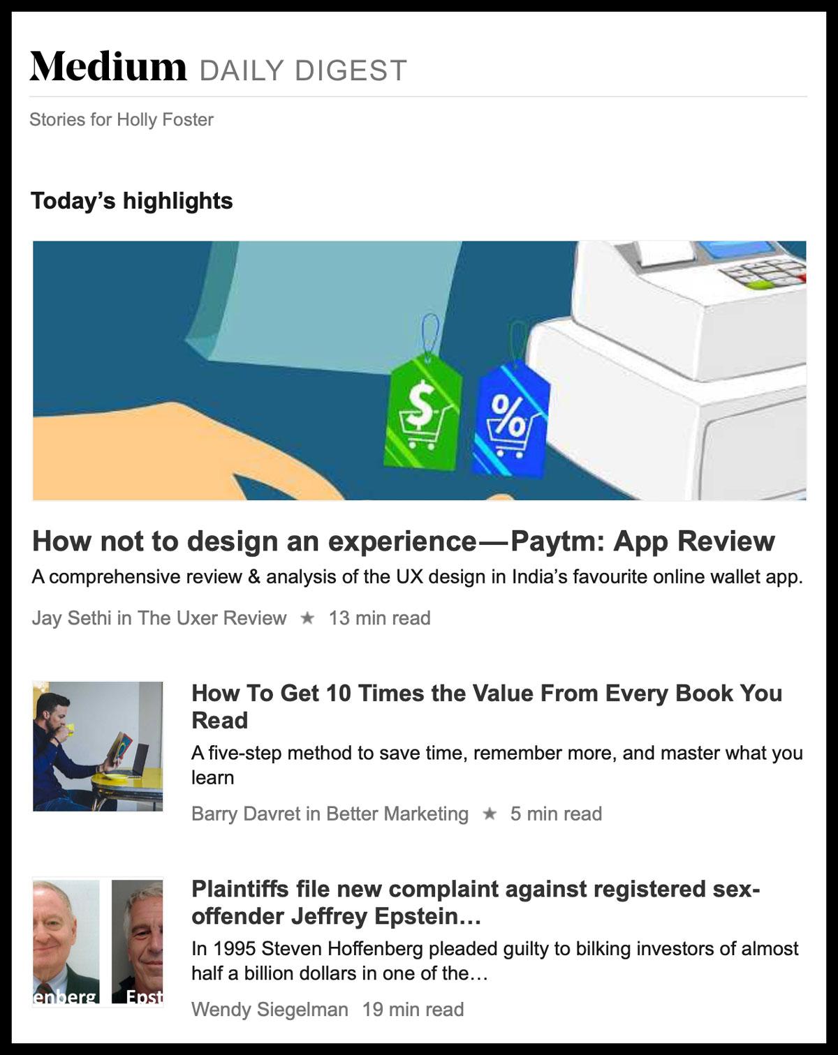 Image of Medium.com Daily Digest email